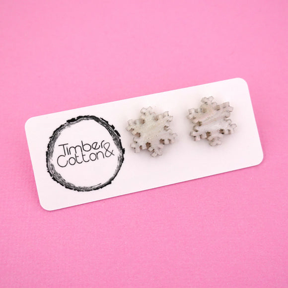 Snowflake 'White Ripple Glitter' Stud Earrings - Timber & Cotton