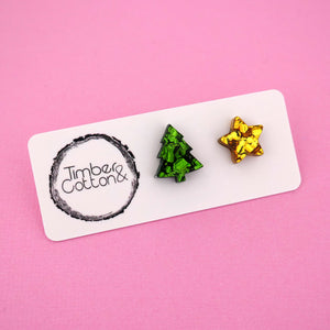 Christmas Tree & Star 'Green & Gold Flake' Mismatch Stud Earrings - Timber & Cotton
