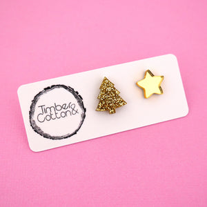 Christmas Tree & Star 'Gold Glitter & Gold Mirror' Mismatch Stud Earrings - Timber & Cotton