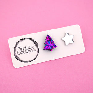 Christmas Tree & Star 'Purple Party Flake & Silver Mirror' Mismatch Stud Earrings - Timber & Cotton