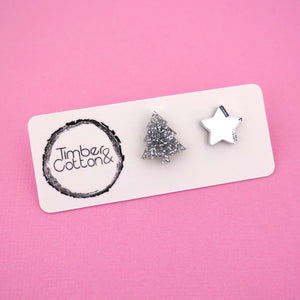 Christmas Tree & Star 'Silver Glitter & Silver Mirror' Mismatch Stud Earrings - Timber & Cotton