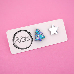 Christmas Tree & Star 'Ocean Flake & Silver Mirror' Mismatch Stud Earrings - Timber & Cotton