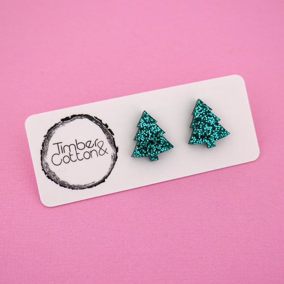 Christmas Tree 'Green Glitter' Stud Earrings - Timber & Cotton