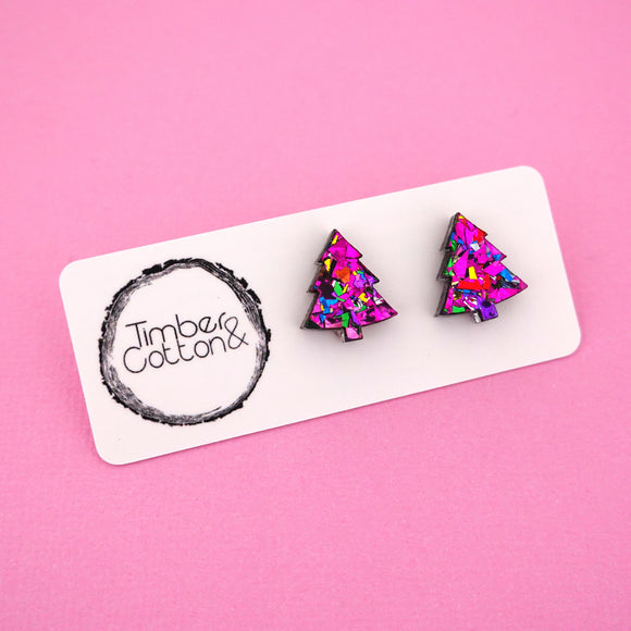 Christmas Tree 'Pink Rainbow Flake' Stud Earrings - Timber & Cotton