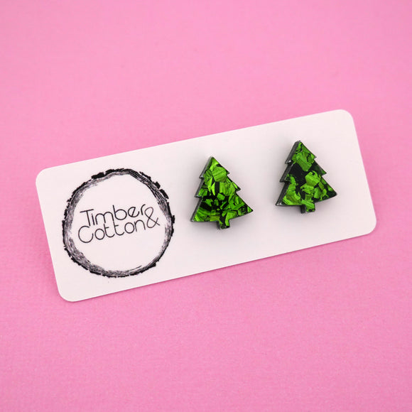 Christmas Tree 'Green Flake' Stud Earrings - Timber & Cotton