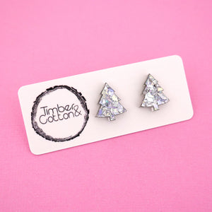Christmas Tree 'Holographic Silver Flake' Stud Earrings - Timber & Cotton