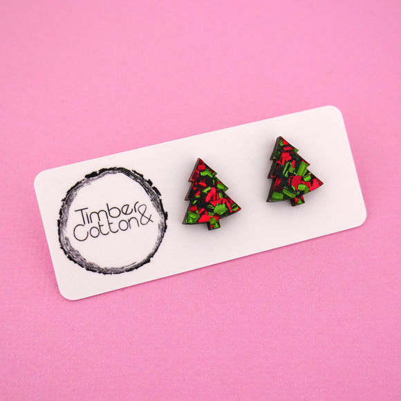 Christmas Tree 'Christmas Flake' Stud Earrings - Timber & Cotton