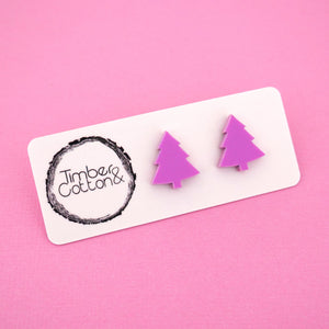 Christmas Tree 'Matte Sour Grape' Stud Earrings - Timber & Cotton