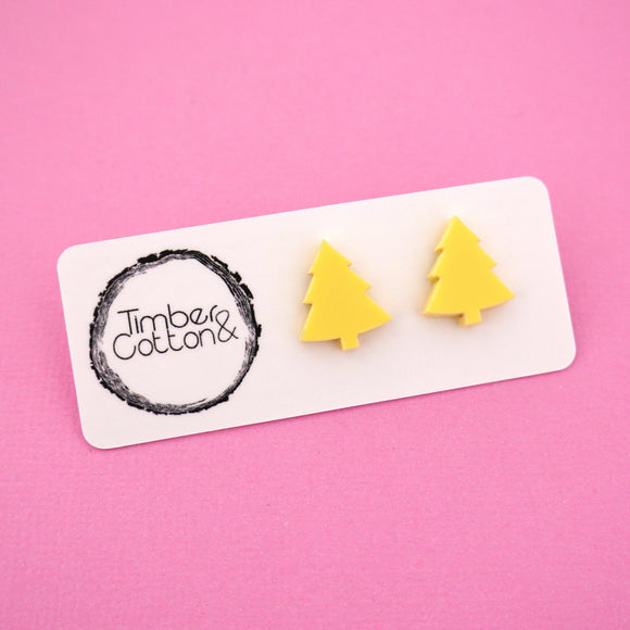 Christmas Tree 'Matte Pastel Yellow' Stud Earrings - Timber & Cotton