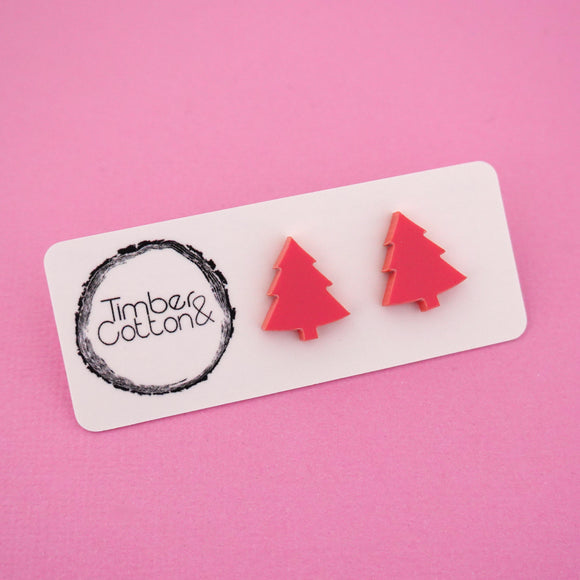 Christmas Tree 'Matte Coral' Stud Earrings - Timber & Cotton