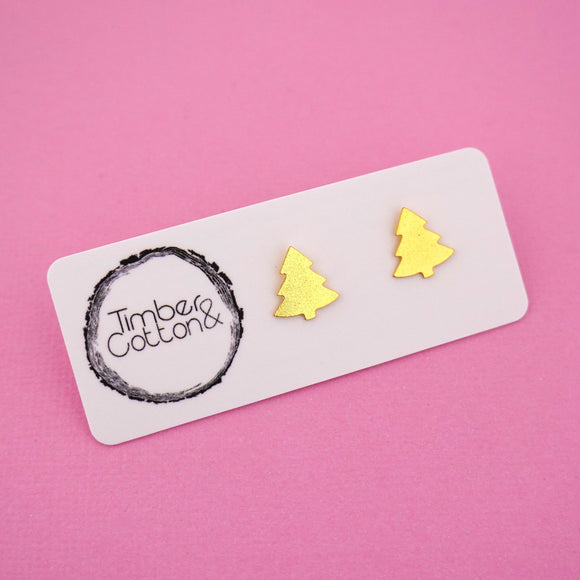 Christmas Tree 'Gold Metallic' Stud Earrings - Timber & Cotton