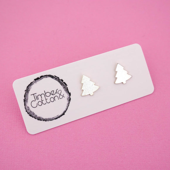 Christmas Tree 'Silver Metallic' Stud Earrings - Timber & Cotton