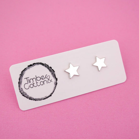 Star 'Silver Metallic' Stud Earrings - Timber & Cotton