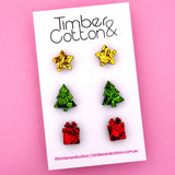Christmas 'Gold, Green & Red Flake' Triple Stud Earrings Pack - Timber & Cotton