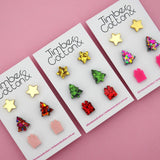 Christmas 'Gold Mirror, Pink Rainbow Flake & Hot Pink' Triple Stud Earrings Pack - Timber & Cotton