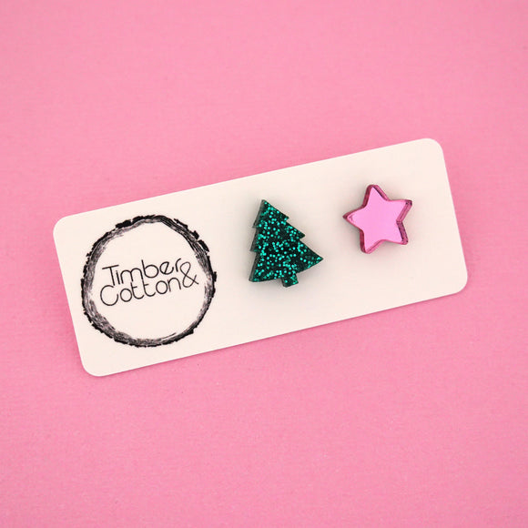 Christmas Tree & Star 'Green Glitter & Pink Mirror' Mismatch Stud Earrings - Timber & Cotton