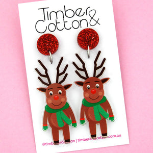 Rudolph The Red Nose Reindeer Dangle Earring - Timber & Cotton
