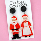 Mr & Mrs Claus Christmas Dangle Earring - Timber & Cotton