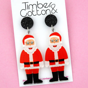 Santa Claus Christmas Dangle Earring - Timber & Cotton