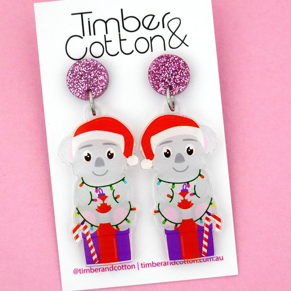 Christmas Koala Dangle Earring - Timber & Cotton