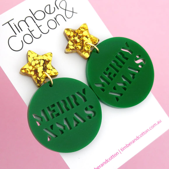 Green Merry Xmas Dangle Earring - Timber & Cotton