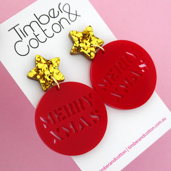 Red Merry Xmas Dangle Earring - Timber & Cotton