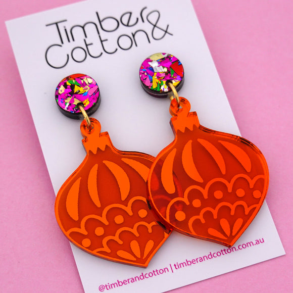 Bauble Bauble 'Orange Mirror' Dangle Earring - Timber & Cotton