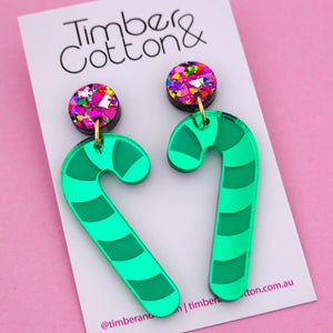 Candy Cane 'Green Mirror' Dangle Earring - Timber & Cotton