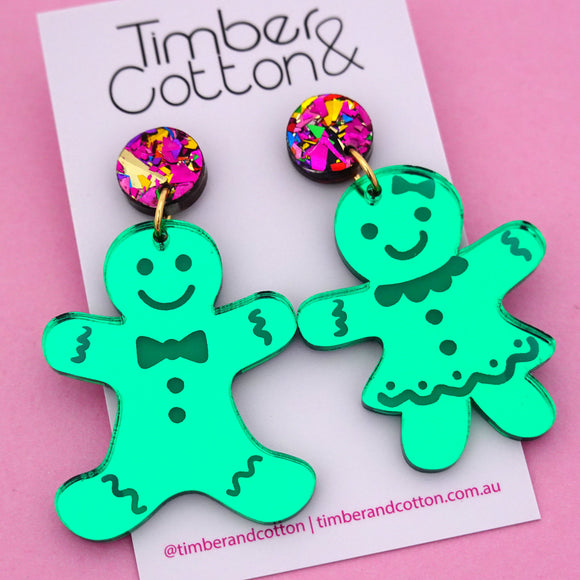 Mr & Mrs Gingerbread 'Green Mirror' Dangle Earring - Timber & Cotton