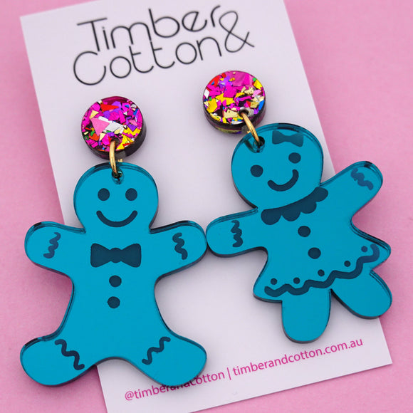 Mr & Mrs Gingerbread 'Teal Mirror' Dangle Earring - Timber & Cotton