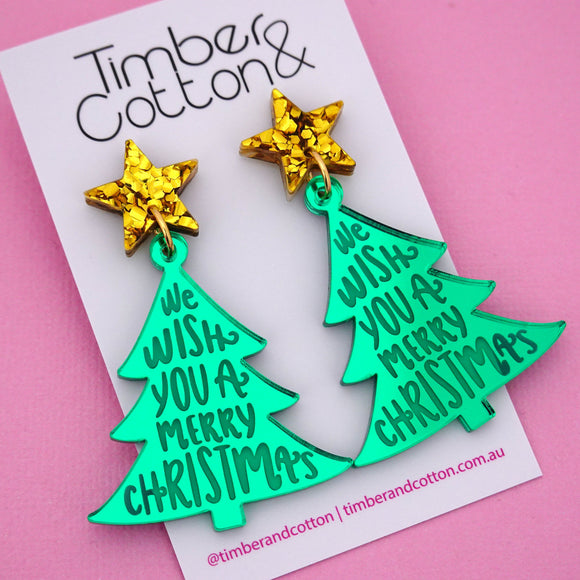 'We Wish You A Merry Christmas' Christmas Tree Dangle Earring - Timber & Cotton