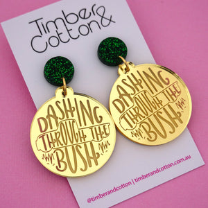 'Dashing Through The Bush' Christmas Dangle Earring - Timber & Cotton