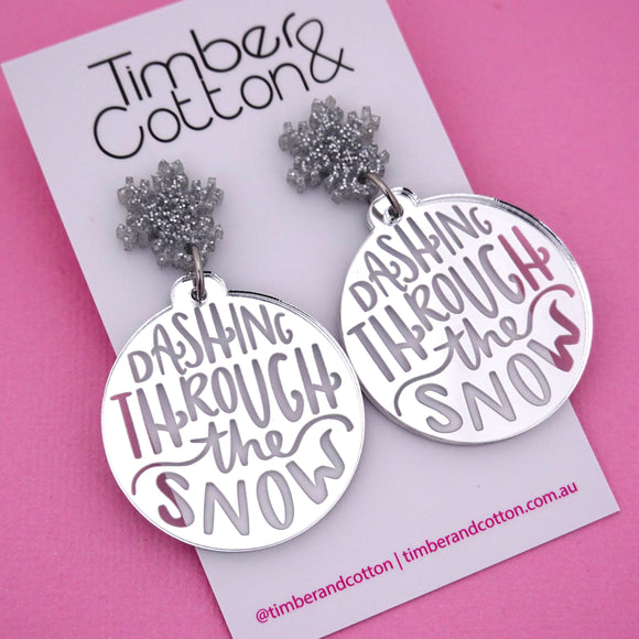 'Dashing Through the Snow' Christmas Dangle Earring - Timber & Cotton