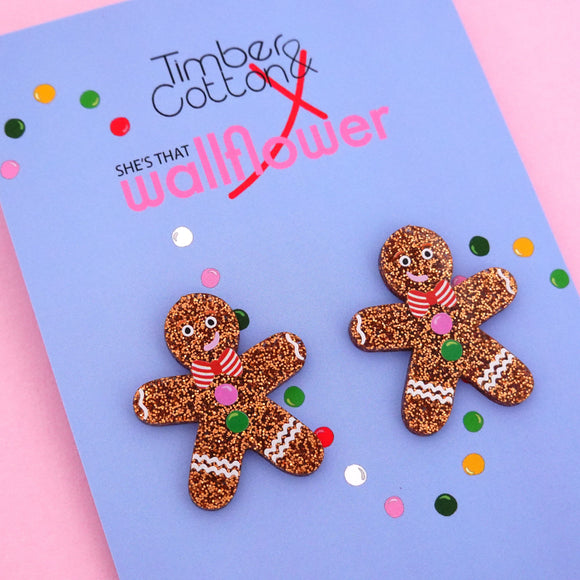 Gingerbread Man Statement Stud Earring - Timber & Cotton + She's that Wallflower