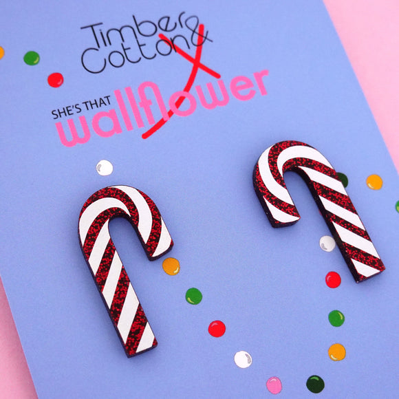 Candy Cane 'Red Glitter' Statement Stud Earring - Timber & Cotton + She's that Wallflower