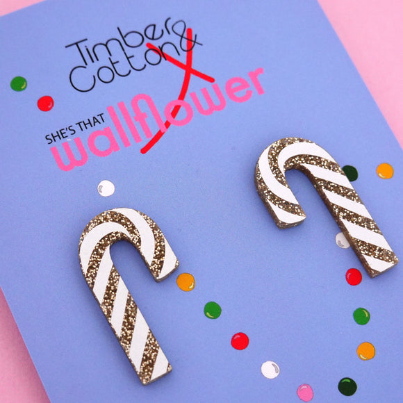 Candy Cane 'Gold Glitter' Statement Stud Earring - Timber & Cotton + She's that Wallflower