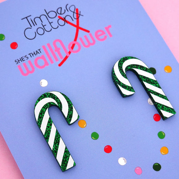 Candy Cane 'Green Glitter' Statement Stud Earring - Timber & Cotton + She's that Wallflower