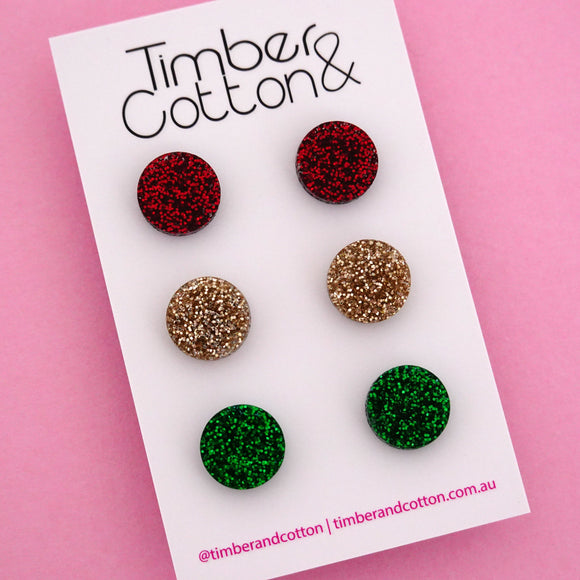 13mm Circle 'Christmas' Triple Stud Earrings Pack - Timber & Cotton