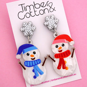Snow Man Mismatch Christmas Dangle Earring - Timber & Cotton