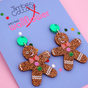 Gingerbread Man with Green Mirror Dangle Earring - Timber & Cotton + She's that Wallflower