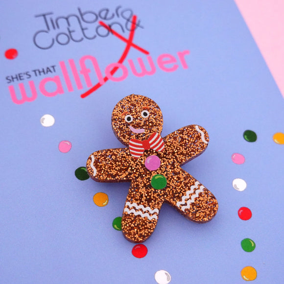 Gingerbread Man Brooch - Timber & Cotton + She's that Wallflower