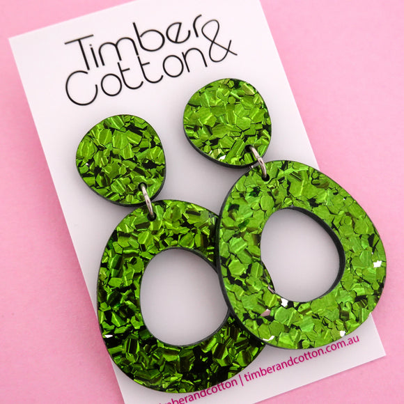 Mia 'Green Flake' Dangle Earring- Timber & Cotton