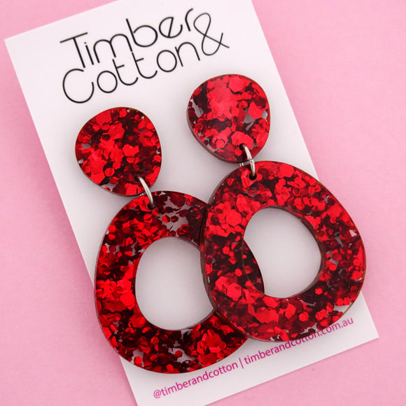 Mia 'Red Flake' Dangle Earring- Timber & Cotton