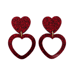 Heart Dangle Earring- Dark Red Glitter