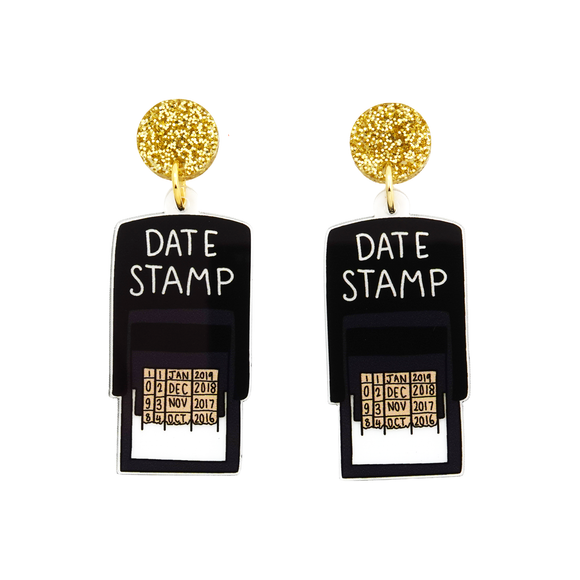 Date Stamp Dangle Earring - Timber & Cotton