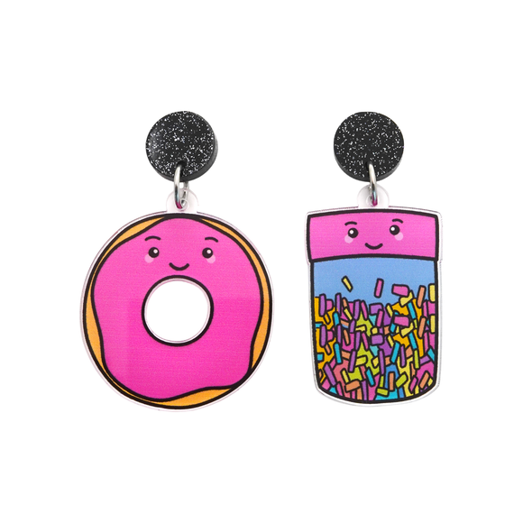 'Donut & Sprinkles' Food Dangle Earring