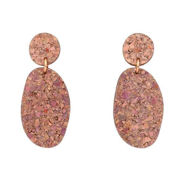 Holographic Rose Gold Flake 'Ellie' Dangle Earrings- Timber & Cotton