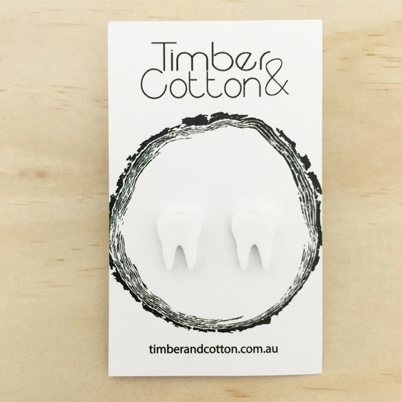 Tooth 'Matte White' Stud Earrings - Timber & Cotton
