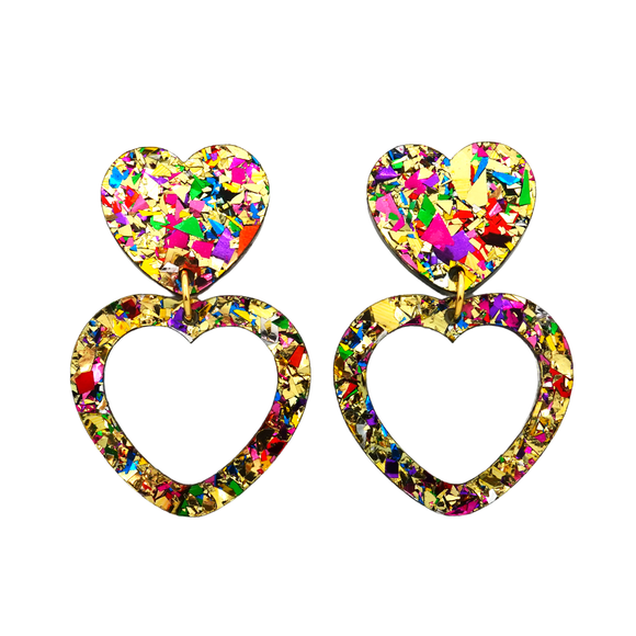 Heart Dangle Earring- Gold Rainbow Flake