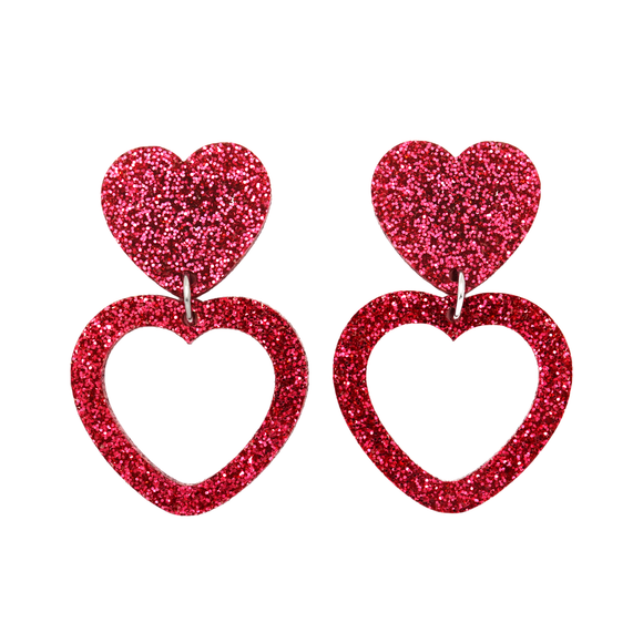 Heart Dangle Earring- Pink Glitter